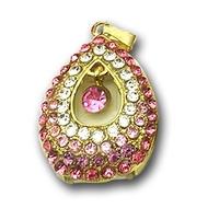 Оригинальная подарочная флешка Present ART87 32GB Pink (подвеска с кристаллами)