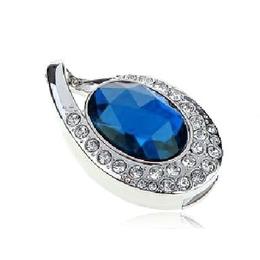 Оригинальная подарочная флешка Present ART89 64GB Blue (подвеска с кристаллом)