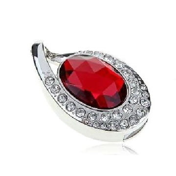 Оригинальная подарочная флешка Present ART89 08GB Red (подвеска с кристаллом)