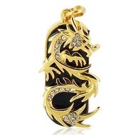 Оригинальная подарочная флешка Present ART91 128GB (золотой дракон со стразами, без блистера)