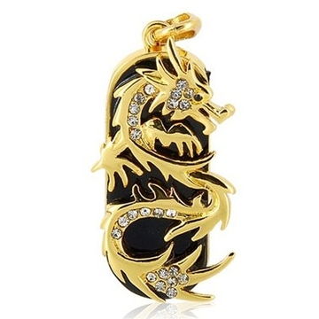 Оригинальная подарочная флешка Present ART91 16GB (золотой дракон со стразами, без блистера)