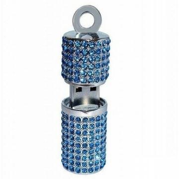 Оригинальная подарочная флешка Present ART93 16GB Blue (помада для губ, со стразами)