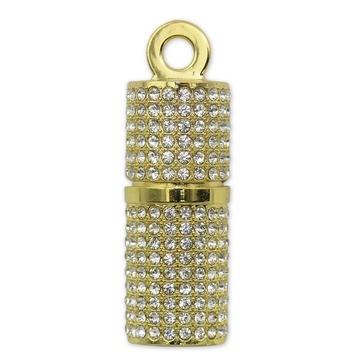 Оригинальная подарочная флешка Present ART93 32GB Gold (помада для губ, со стразами, без блистера)