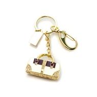 Оригинальная подарочная флешка Present BAG02 128GB (флешка-сумочка бело-коричневая с кристаллами на углах на кольце)