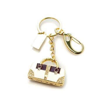 Оригинальная подарочная флешка Present BAG02 08GB (флешка-сумочка бело-коричневая с кристаллами на углах на кольце)