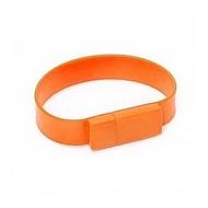 Оригинальная подарочная флешка Present BRT02 04GB Orange (флешка-браслет резиновый цветной, узкий, одноцветный)