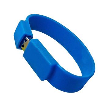 Оригинальная подарочная флешка Present BRT02 64GB Blue (флешка-браслет резиновый цветной, узкий, одноцветный)