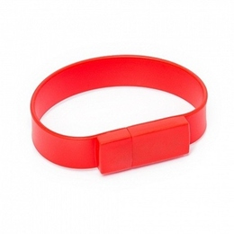 Оригинальная подарочная флешка Present BRT02 64GB Red (флешка-браслет резиновый цветной, узкий, одноцветный)