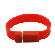 Оригинальная подарочная флешка Present BRT02 08GB Red (флешка-браслет резиновый цветной, узкий, одноцветный)