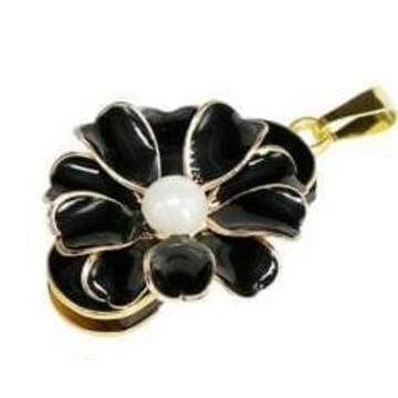 Оригинальная подарочная флешка Present FLW03 128GB Black (цветочек с 10 лепестками и жемчужиной в центре)