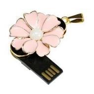 Оригинальная подарочная флешка Present FLW03 128GB Pink (цветочек с 10 лепестками и жемчужиной в центре)