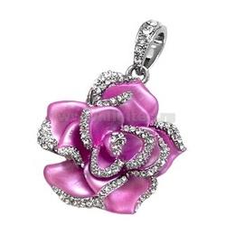 Оригинальная подарочная флешка Present FLW05 04GB Pink (разноцветные розы без стебля и камнями на лепестках)