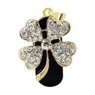 Оригинальная подарочная флешка Present FLW13 64GB (цветок на маленьком стебельке на черном фоне - 4 лепестка в форме сердца с камнями)