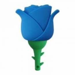 Оригинальная подарочная флешка Present FLW17 04GB Blue (синяя роза на стебле)