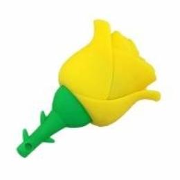 Оригинальная подарочная флешка Present FLW17 04GB Yellow (желтая роза на стебле)