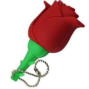 Оригинальная подарочная флешка Present FLW17 08GB Red (красная роза на стебле)