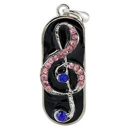 Оригинальная подарочная флешка Present GTR05 128GB Pink Blue (скрипичный ключ в сине-розовых камнях)