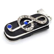 Оригинальная подарочная флешка Present GTR05 128GB White Blue (скрипичный ключ в сине-белых камнях)
