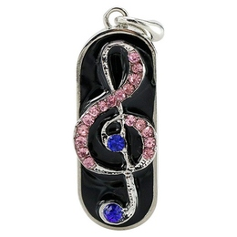 Оригинальная подарочная флешка Present GTR05 16GB Pink Blue (скрипичный ключ в сине-розовых камнях)