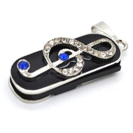 Оригинальная подарочная флешка Present GTR05 64GB White Blue (скрипичный ключ в сине-белых камнях)