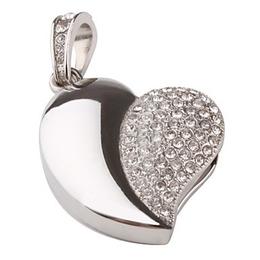 Оригинальная подарочная флешка Present HRT02 32GB Silver (сердце серебристое со стразами)