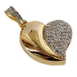 Оригинальная подарочная флешка Present HRT02 04GB Gold (сердце золотистое со стразами)