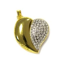 Оригинальная подарочная флешка Present HRT02 64GB Gold (сердце золотистое со стразами)