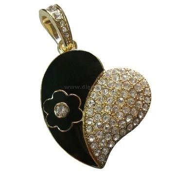 Оригинальная подарочная флешка Present HRT03 32GB (сердце черное со стразами, черный цветок)