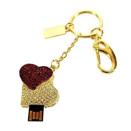 Оригинальная подарочная флешка Present HRT10 04GB (сердце красное на фоне сердца белого)