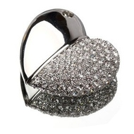 Оригинальная подарочная флешка Present HRT19 32GB Silver (флешка-сердце, тонкое, одна половина - гладкое серебро, другая - серебро с кристаллами)