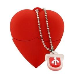 Оригинальная подарочная флешка Present HRT20 64GB Red (флешка-сердце красное, материал пластик, без блистера)