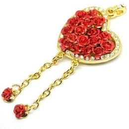 Оригинальная подарочная флешка Present HRT30 128GB Red (флешка-сердце золотое с розами и кристаллами)
