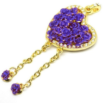 Оригинальная подарочная флешка Present HRT30 64GB Blue (флешка-сердце золотое с розами и кристаллами)