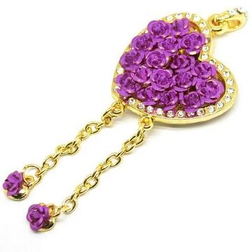 Оригинальная подарочная флешка Present HRT30 64GB Purple (флешка-сердце золотое с розами и кристаллами)