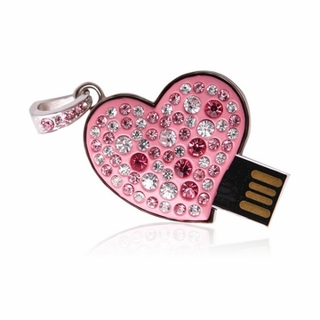 Оригинальная подарочная флешка Present HRT31 128GB (розовое сердце со стразами, без блистера)
