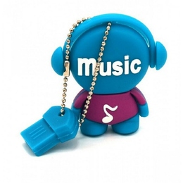 Оригинальная подарочная флешка Present MEN03 04GB Blue (меломан в наушниках)