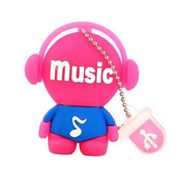 Оригинальная подарочная флешка Present MEN03 04GB Pink (меломан в наушниках)