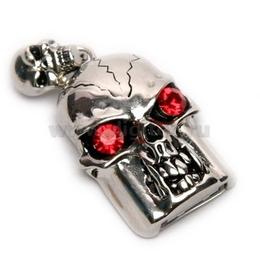 Оригинальная подарочная флешка Present SKL02 04GB (череп со стразами, красные глаза, без шляпы)