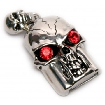 Оригинальная подарочная флешка Present SKL02 64GB (череп со стразами, красные глаза, без шляпы)