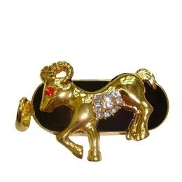 Оригинальная подарочная флешка Present ZODIAC06 04GB (знак зодиака овен на темном фоне, камни в глазу и на брюхе, закругленные рога)
