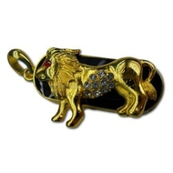 Оригинальная подарочная флешка Present ZODIAC07 128GB (знак зодиака лев на темном фоне, камни в глазу и на брюхе, без блистера)