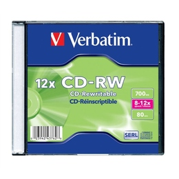 CD-RW Verbatim Slim Case 20шт (700MB, 8x-12x, 43762)