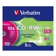 CD-RW Verbatim Slim Case 5шт (700MB, 8x-12x, Color, 43167)