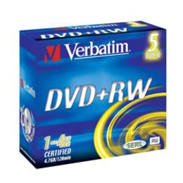 DVD+RW Verbatim Jewel Case 5шт (4.7GB, 4x, 43229)