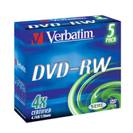 DVD-RW Verbatim Jewel Case 5шт (4.7GB, 4x, 43285)