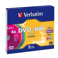 DVD+RW Verbatim Slim Case 5шт (4.7GB, 4x, Color, 43297)