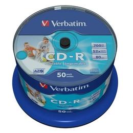 CD-R Verbatim Cake Box 50шт (700MB, 52x, Printable, 43309)