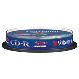 CD-R Verbatim Cake Box 10шт (700MB, 52x, Datalife, 43437)