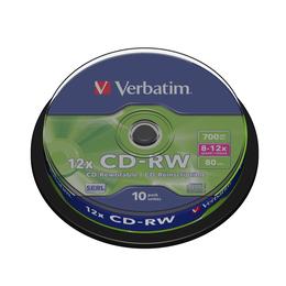CD-RW Verbatim Cake Box 10шт (700MB, 8x-12x, 43480)