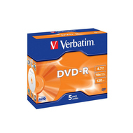 Диск DVD-R Verbatim Jewel Case 5шт (4.7GB, 16x)